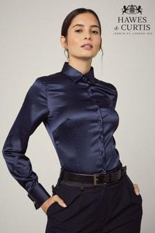 Синяя приталенная атласная рубашка с однотонными двойными манжетами Hawes And Curtis