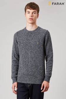 Farah Grey Creation Long Sleeve Crew Neck Jumper