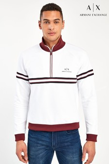 Armani Exchange White 1/2 Zip Logo Sweatshirt