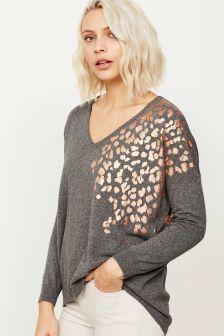 Mint Velvet Grey Foil Leopard Print Oversized Knit