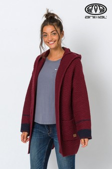 Animal Merlot Red Maya Coco Knitted Hooded Cardigan