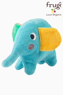 Frugi Blue Froogli Squidge Elephant Ogranic Cotton Soft Rattle