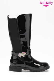 Lelli Kelly Black Patent Unicorn Trim Tall Boots