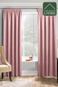 Enhanced Living Pink Matrix Thermal Blackout Pencil Pleat Curtains
