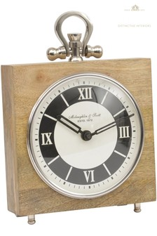 Libra Mango Wood And Nickle Square Clock