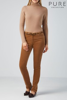 Pure Collection Samtjeans mit Waschung, camel