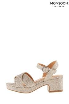 Monsoon Gold Shimmer Platform Sandals