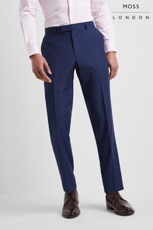 Moss London Skinny Fit Blue Stretch Trouser