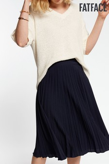FatFace Blue Perrie Pleated Skirt