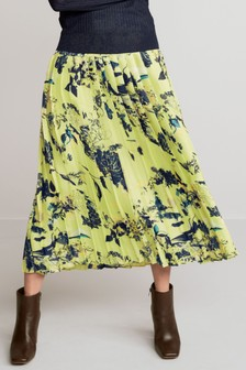 Flat Front Pleated Skirt