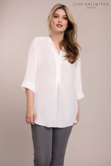 Live Unlimited Chambray White Blouse