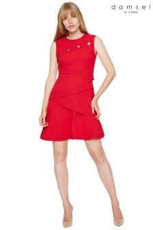 Damsel In A Dress Red Kalyn Button Detail Dress
