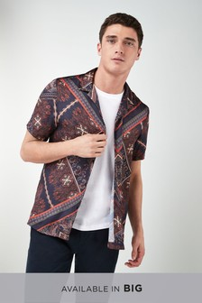 Short Sleeve Retro Tile Print Shirt