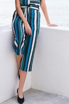 Укороченные полосатые брюки широкого кроя
