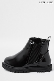 River Island Black Patent Clumpy Chelsea Boots
