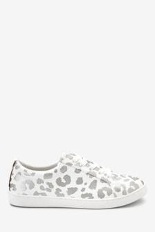 Leopard Foil Print Lace-Ups