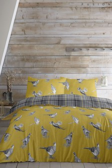 Fusion Pheasant Birds And Tartan Check Brushed Cotton Flannel Duvet Cover and Pillowcase Set