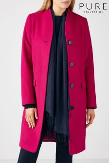 Pure Collection Raspberry High Neck Tailored Coat