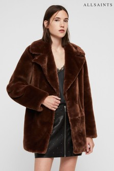 AllSaints Toffee Brown Amice Faux Fur Jacket