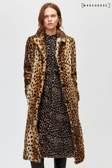 Warehouse Long Animal Faux Fur Coat