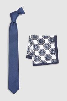 Фактурный галстук и нагрудный платок с рисунком