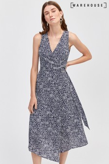 Warehouse Blue Spiral Print Wrap Midi Dress