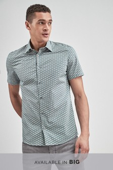 Smart Short Sleeve Geo Print Shirt