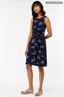 Синее платье с рисунком Monsoon Elouise