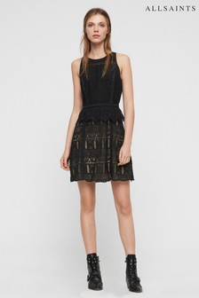 AllSaints Black Melia Lace Dress