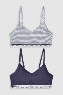 Cotton Stripe Bra Two Pack