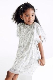 Luźna sukienka balowa z cekinami (3-16 lat)