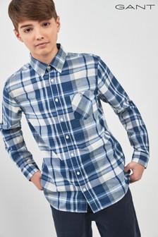 GANT Teen kariertes Button-down-Hemd, indigoblau