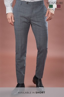 Skinny Fit Marzotto Signature Check Suit: Trousers