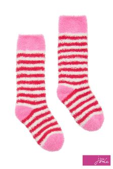 Joules Cream Stripe Fluffy Socks