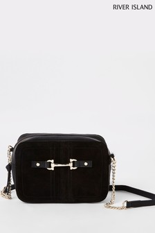 River Island Black Leather Snaffle Cross-Body Bag