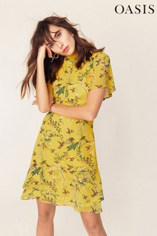 Oasis Yellow Tiered Print Skater Dress