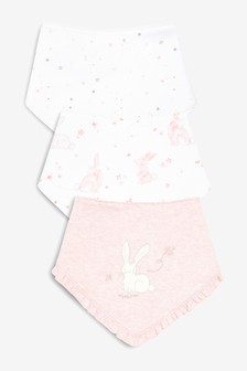 兔子卡通圖案口水巾圍兜三件裝