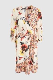 Vestido con diseño cruzado y estampado floral variado
