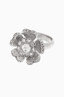 Silver Tone Sparkle Flower Ring