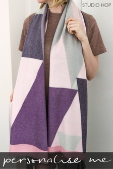 Personalised Cashmere Blend Geometric Triangle Scarf by Studio Hop