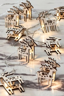 10 Wooden Reindeer Line Lights