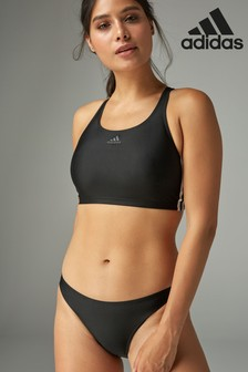 adidas Black Two Piece 3 Stripe Swimsuit