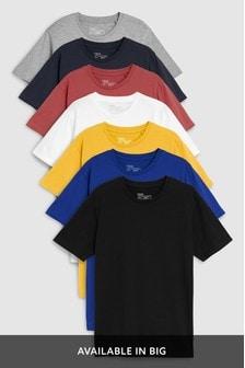 Lot de sept t-shirts colorés