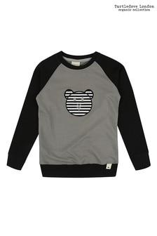 Turtledove London Grey Raglan Applique Sweatshirt