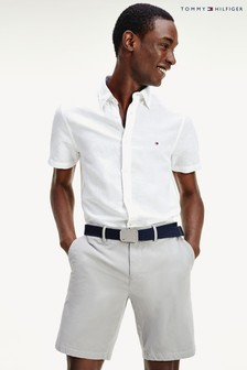 Tommy Hilfiger White Slim Cotton Linen Short Sleeve Shirt