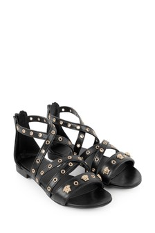 Girls Black Studded Leather Sandals