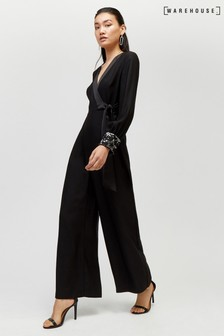 Warehouse Black Star Embellished Cuff Jumpsuit