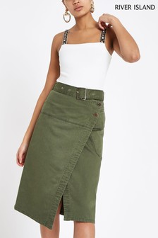 River Island Dark Khaki Denim Midi Skirt