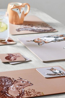 Set of 4 Woodland Placemats And Coasters