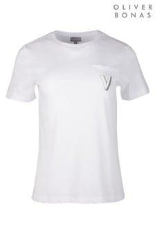 Oliver Bonas White Alphabet Embroidered T-Shirt